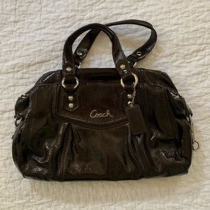 COACH brown Ashley patent leather satchel